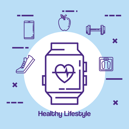 smartwatch with fitness and healthy lifestyle icons vector illustration