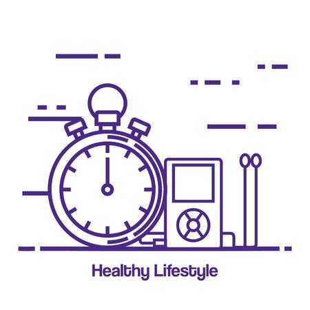diseño de ilustración de vector de estilo de vida saludable y física iconos Ilustración de vector