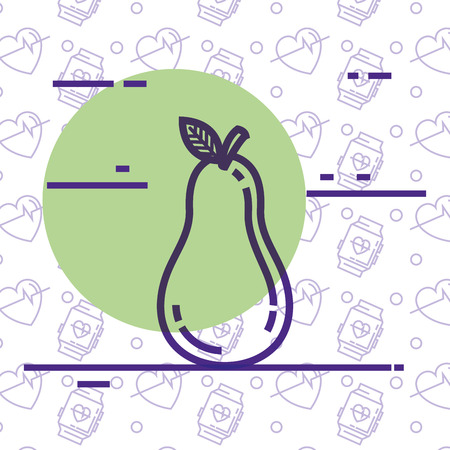 fresh pear healthy food vector illustration design