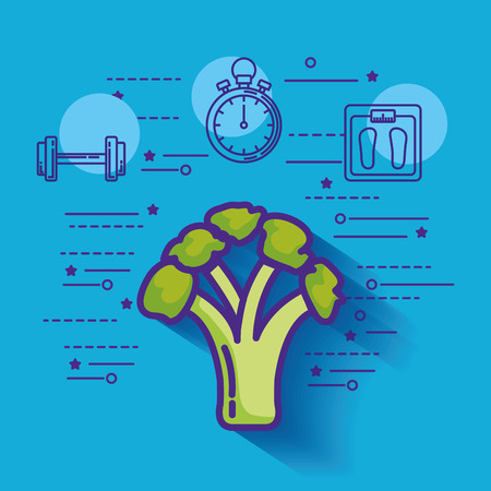 broccoli with healthy lifestyle icons vector illustration design