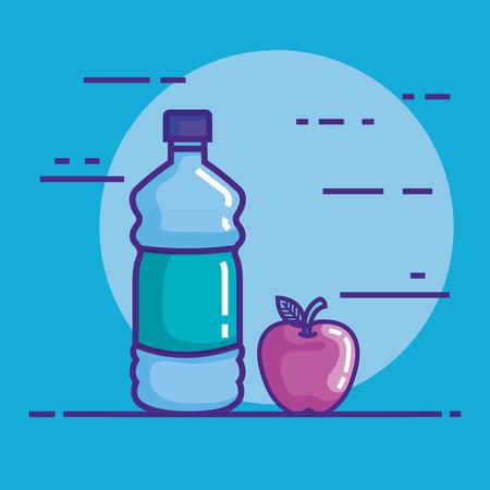 bottle water with apple vector illustration design