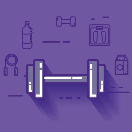 dumbell with healthy lifestyle icons vector illustration design