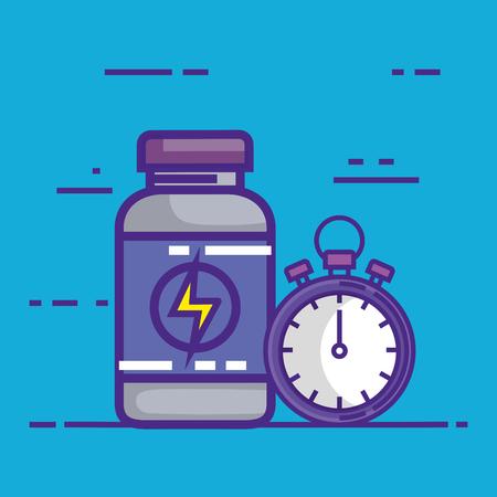 chronometer with bottle drugs vector illustration design Ilustração
