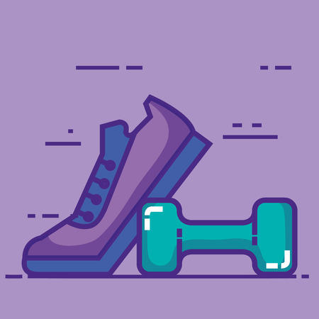 sport tennis shoes with dumbell vector illustration design
