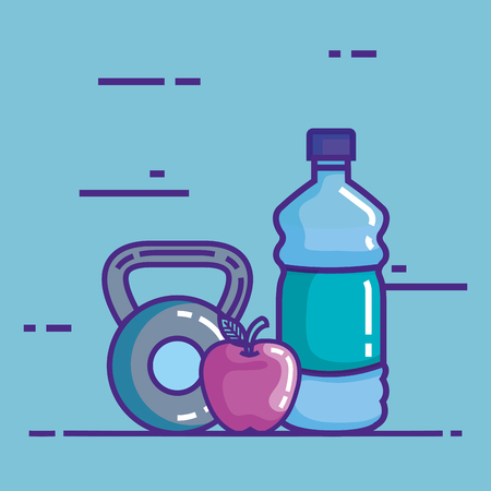 bottle water with apple and dumbell vector illustration design