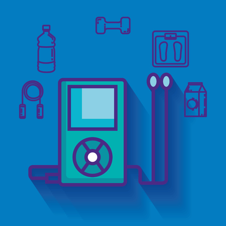 music player with healthy lifestyle icons vector illustration design Ilustração