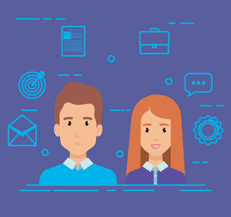business couple with social media marketing icons vector illustration Vectores