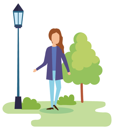young woman on the park vector illustration design