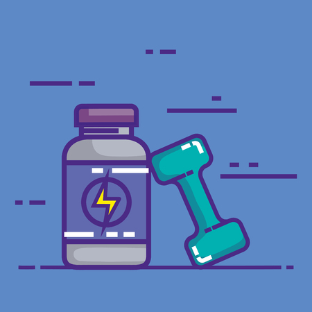 energy bottle product with dumbell vector illustration design