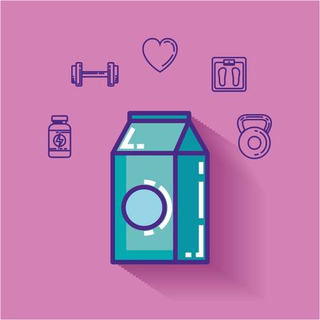 milk box with healthy lifestyle icons vector illustration design Foto de archivo - 110155315