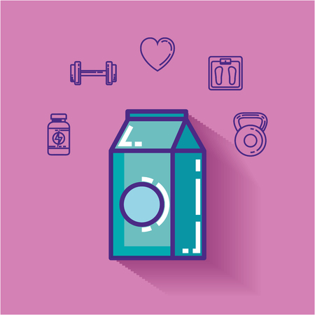 milk box with healthy lifestyle icons vector illustration design Illustration