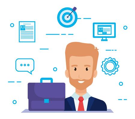 businessman with social media marketing icons vector illustration