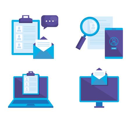 marketing des médias sociaux mis icônes vector illustration
