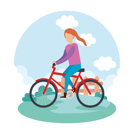 young woman on bicycle character vector illustration design Illustration