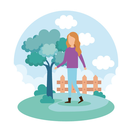 young woman on the park vector illustration design Foto de archivo - 110155340