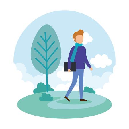 young man on the park vector illustration design Ilustração