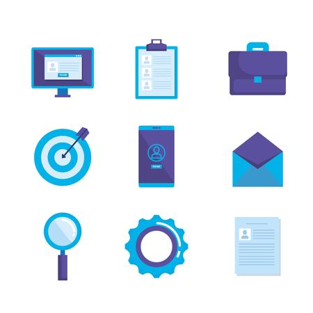 social media marketing set icons vector illustration design