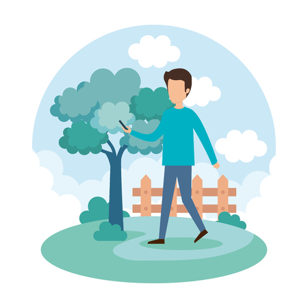 young man on the park vector illustration design