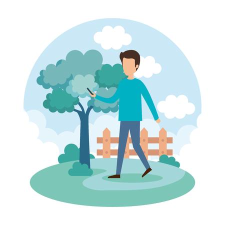 young man on the park vector illustration design Иллюстрация