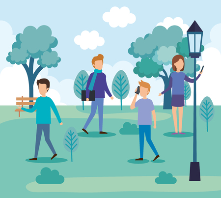 group of people on the park vector illustration design