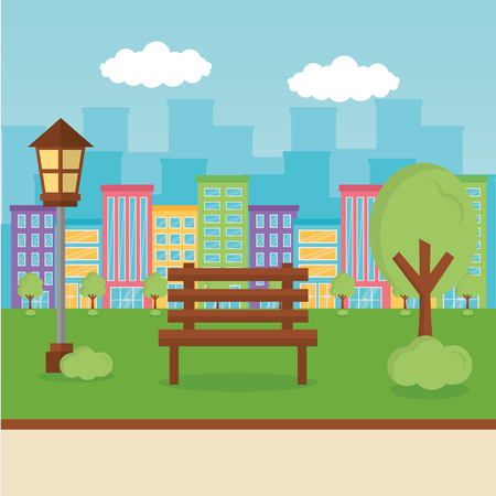 city park clouds banks road vector illustration Illustration