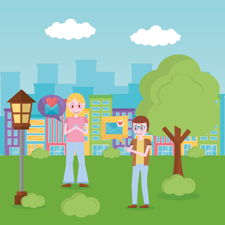 mobile love city park couple chatting happy lovers vector illustration Stock Vector - 110085678