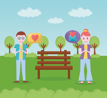 mobile love park people chatting romantic hearts vector illustration Stock Vector - 110085685