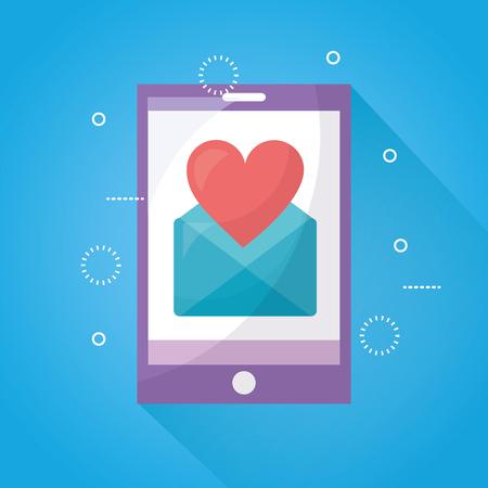 mobile love smartphone message heart romantic vector illustration
