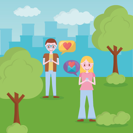 mobile love couple park city message heart chatting vector illustration