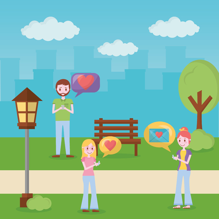 mobile love people chatting park message hearts vector illustration Stock Vector - 110085697