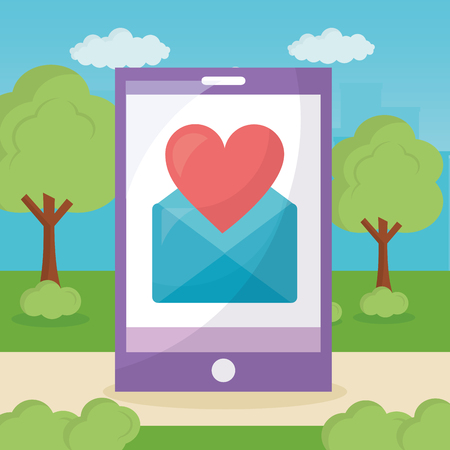 mobile love park smartphone screen message heart vector illustration Illustration