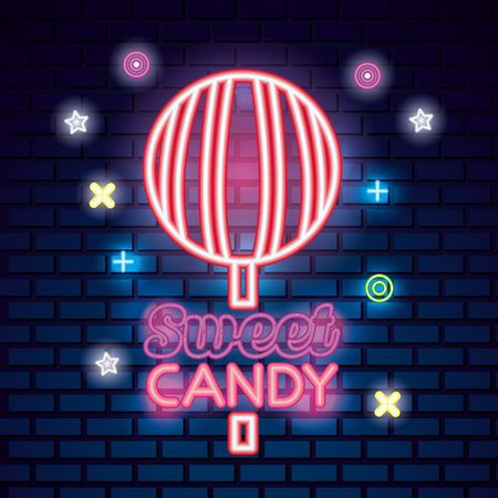 sweet candy symbols neon sign lollipop caramel vector illustration
