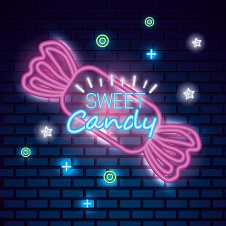 sweet candy symbols wrapped caramel symbols neon vector illustration