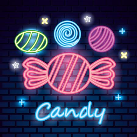 sweet candy balls caramels symbols neon vector illustration