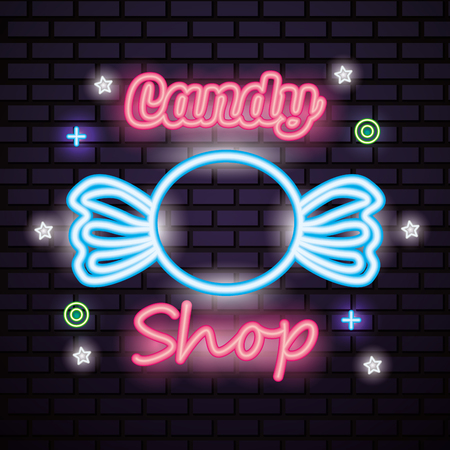 sweet candy wrapped caramel sign symbols neon vector illustration