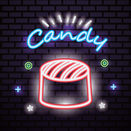 sweet candy stuffed caramel lights neon symbols vector illustration 向量圖像