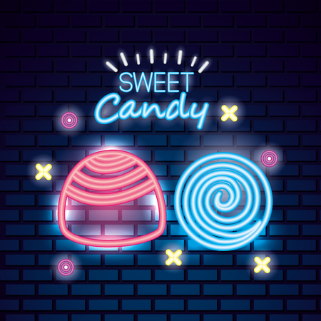 sweet candy mint ball stuffed caramel symbols neon vector illustration