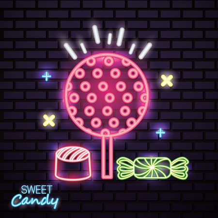 sweet candy lollipop caramels stuffed neon vector illustration 向量圖像