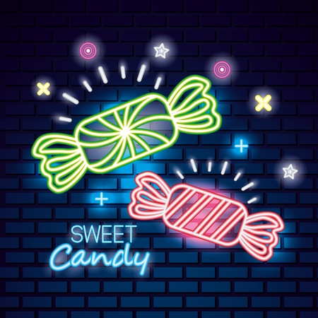 sweet candy wrappeds caramels light neon vector illustration Foto de archivo - 110085720