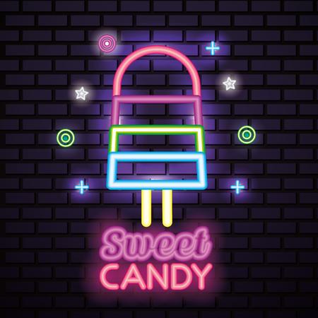sweet candy symbols neon style lollipop vector illustration
