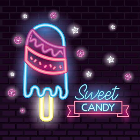 sweet candy stars neon lollipop ribbon sign vector illustration