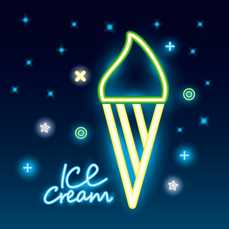 sweet candy ice cream symbols neon vector illustration Illustration
