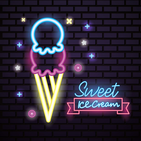 sweet candy ice cream flavors symbols neon vector illustration