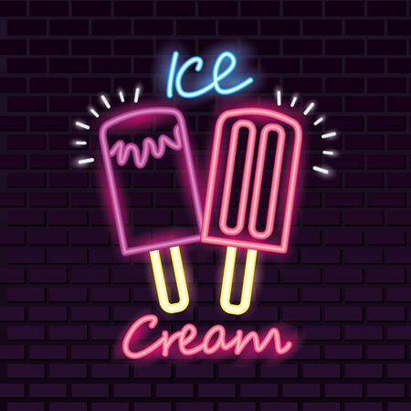sweet candy flavor ice cream neon vector illustration Çizim