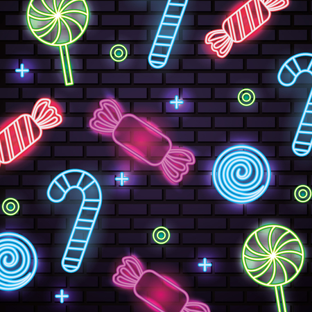 sweet candy cane lollipops symbols neon caramels vector illustration