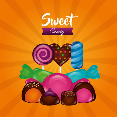 sweet candy heart chocolate chips mints lollipops  vector illustration