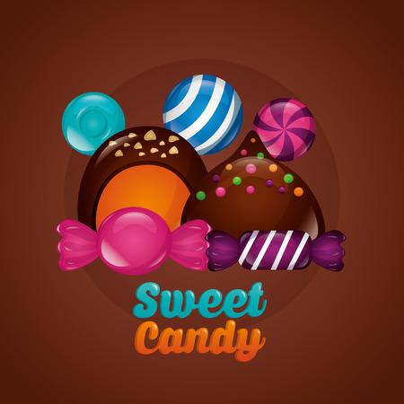 sweet candy chocolate chips cakes lollipops  vector illustration Ilustração