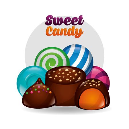 sweet candy chocolate chips cakes mint watermelon lollipop  vector illustration Ilustração