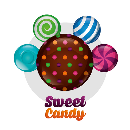 sweet candy chocolate chips cookie mints vector illustration