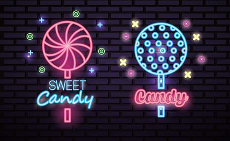 sweet candy symbols lollipops neon sign vector illustration